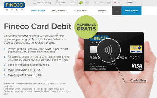 esempio carta di debito fineco