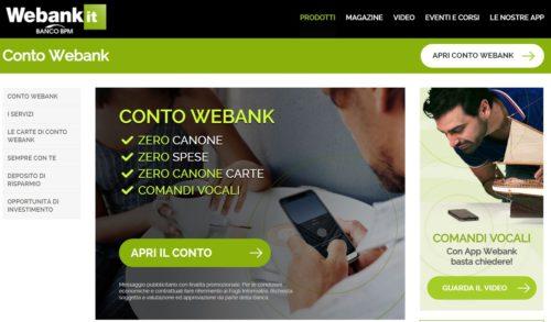esempio schermata sito ufficiale webank