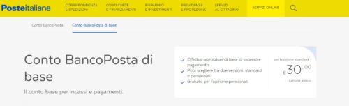 schermata sito poste italiane su conto bancoposta di base