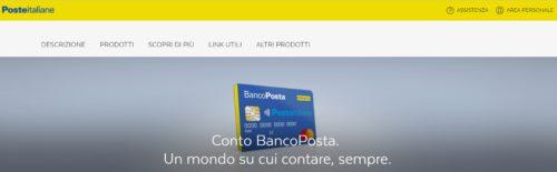 schermata sito poste italiane su conto bancoposta