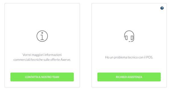 come richiedere assistenza sul sito axerve