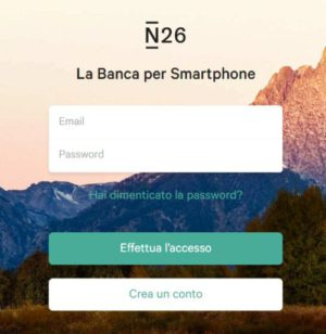 schermata di accesso a n26 web