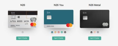 versioni 2019 disponibili di conti e carte n26