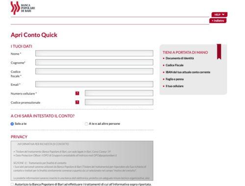 pagina apertura online conto quick