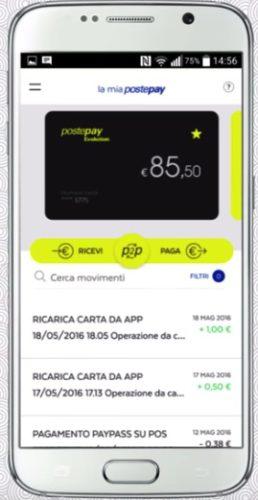 esempio schermata saldo postepay su app