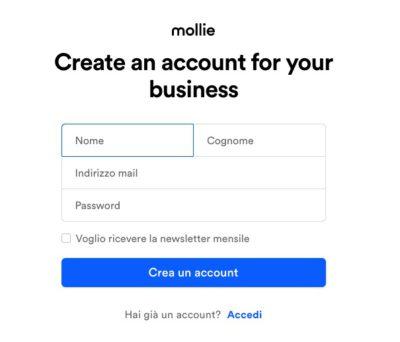 schermata creazione account mollie