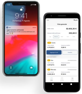 schermata app iban wallet