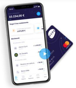 immagine cellulare con l'app di hype e carta di pagamento