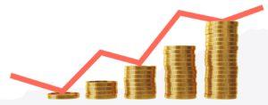 pila di monete con grafico crescente